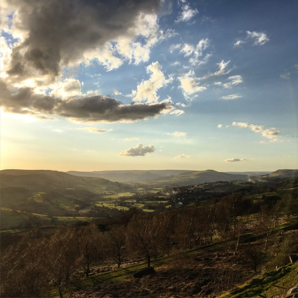 The view after the ski slope and before dropping back to Hathersage