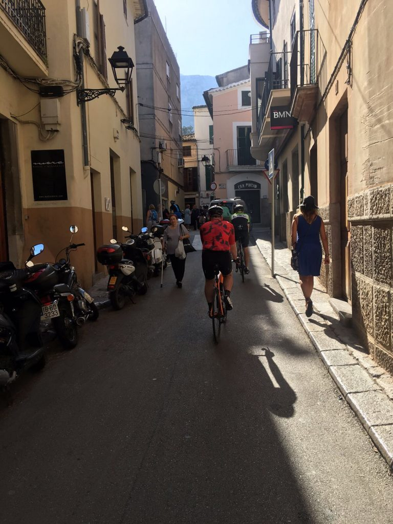 Riding through the old town of Soller