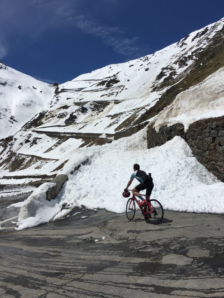 Blocked road. A wall of snow blocking our path up the Stelvio